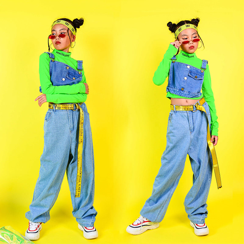 Hip Hop Street Dancing Costumes Children Jazz Dance Costume For Girls Fluorescence Tops Pants Stage Performance Dance Clothes