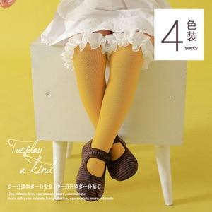 Image 2 - Dziewczynek podkolanówki koronki oddychające skarpetki dla dziewczynek bawełniane stałe słodkie kolana wysokie skarpety zimowe utrzymać ciepłe jednolity rozmiar 1.3kg #43