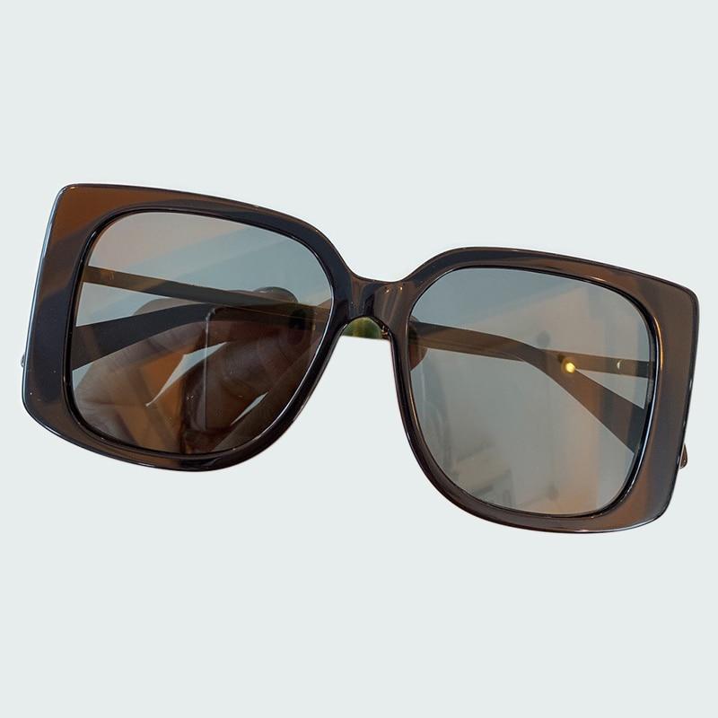 2019 винтажные негабаритные Квадратные Солнцезащитные очки для женщин мужские роскошные брендовые черные коричневые большие рамки Солнцеза...