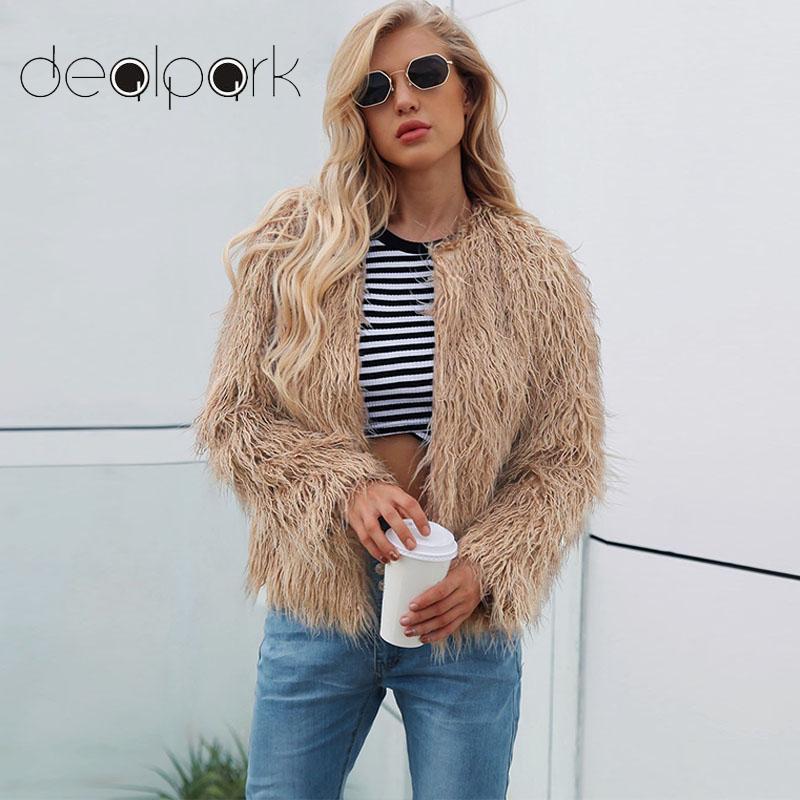 Elegant Faux Fur Coat Women 2019 Autumn Winter Warm Open Front Jacket Cardigan Overcoat Casual Outerwear