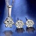 Нимфа синтетический бриллиант комплекты Стад серьги подвеска Necklace1.0ct D Цвет круглый 925 стерлингового серебра, хорошее ювелирное изделие, по...