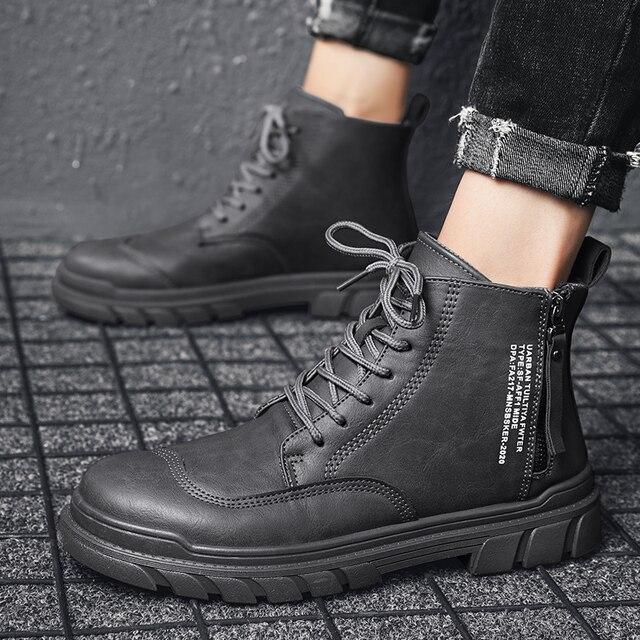 Фото модные высококачественные осенние мужские ботинки из натуральной цена