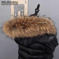 Raccoon Fur Collar Natural Fur Trim Hoodie Custom Made Fox Fur Collar Trim for Down Coat Hood Natural Fur Collar Ms.MinShu