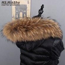 Rakun kürk yaka doğal kürk Trim Hoodie Custom Made kaput için doğal kürk yaka bayan MinShu