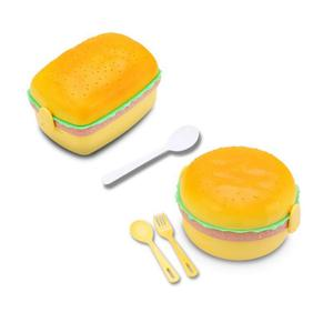 Microwave Lunch Box Cute Hamburger Dinnerware Food Storage Container Children Kids School Office Portable Bento Box
