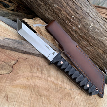 SAMSEND Straight knife 440C Outdoor Tactical defense tool Knife bag with leather cover