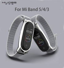 Correa de nailon Mi Band 5 NFC Global Metal acero inoxidable para Mi Band 4 Xio mi Xao mi correa ligera transpirable para Mi Band 3(China)