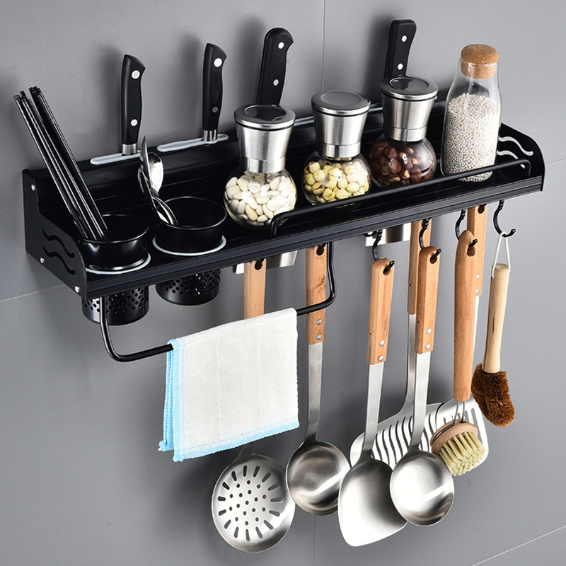 Wall Mount Black Kitchen Storage Rack Shelf Kitchenware Cutlery Holder Organizer