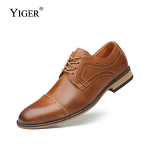 YIGER New Men Dress shoes Man Business Male lace-up Bullock Large size genuine leather Increased mens  0302