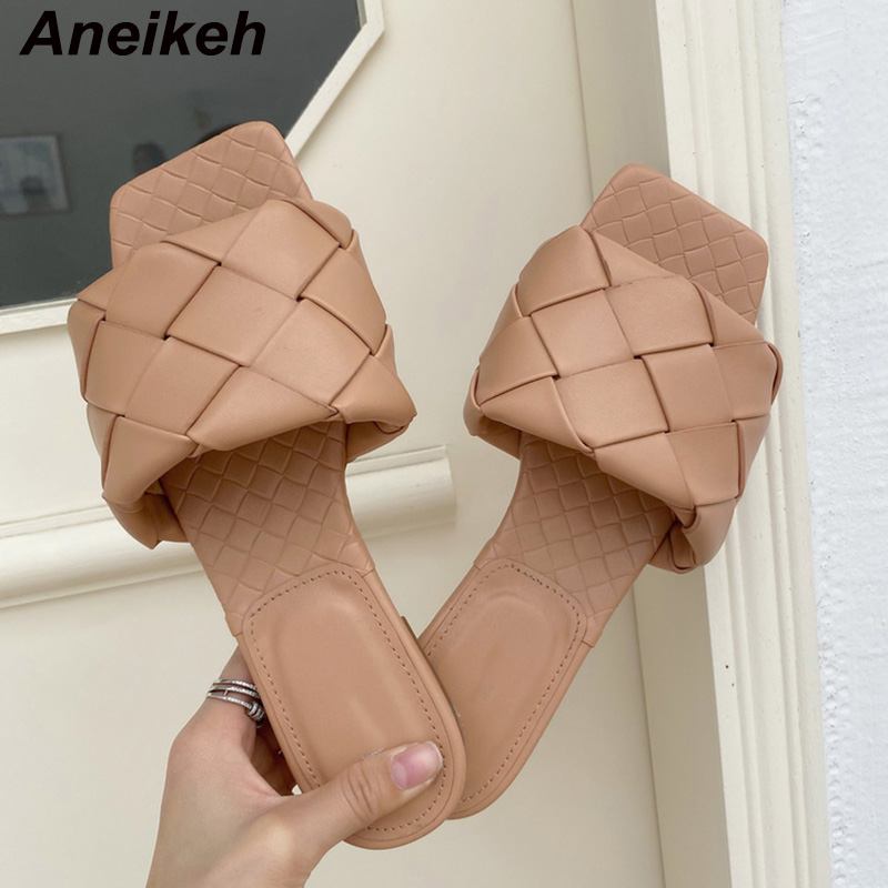 Aneikeh 2020 Fashion Handmade Weave Slippers Square Toe Women Slipper Casual Flat Shoes Summer Sandals Ladies Mules Sexy Slides