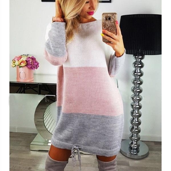 Fashion Autumn Women Knitted Sweater Long Sleeve O-Neck Loose Sweatshirt Pullover Long Top Mini Jumper Dress 1