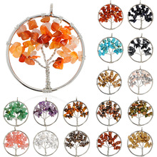 Liste&Luke Rainbow 7 Chakra Tree Of Life Pendant Necklace Crystal Natural Stone Wisdom Women Christmas Gift