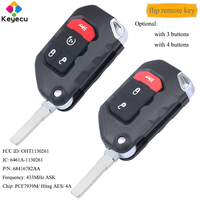 KEYECU Flip Remote Car Key 3/ 4 Buttons ASK 433MHz PCF7939M 4A Chip FOB for Jeep Wrangler 2018 2019, OHT1130261 68416782AA