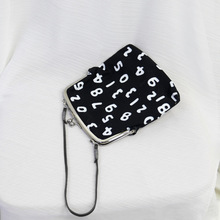 Fun clip bag frog mouth bag carry bag digital canvas bag women's wild messenger bag