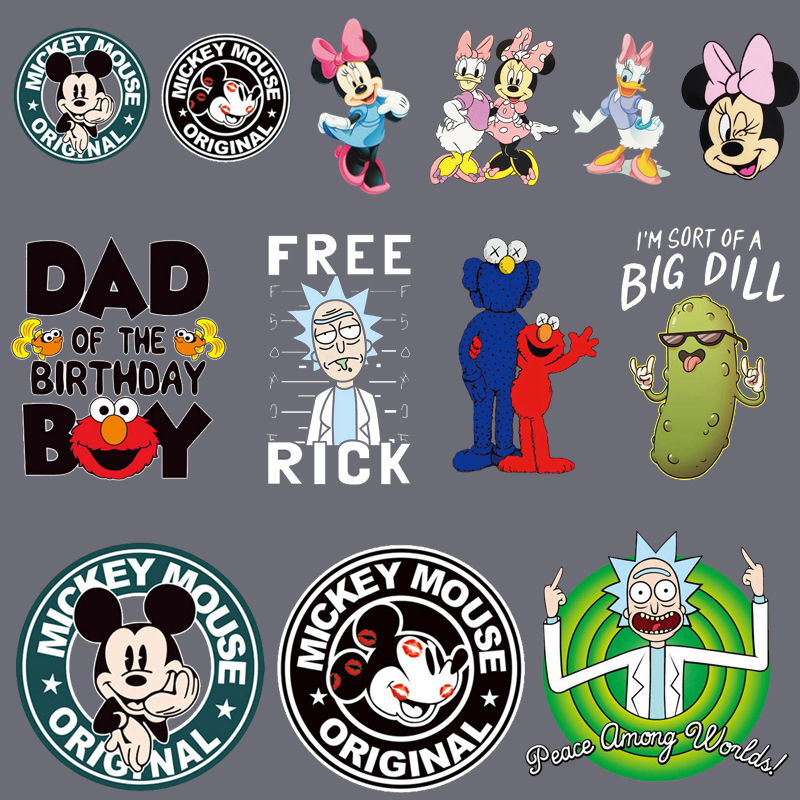 Cartoon Mickey Minnie <font><b>Patch</b></font> <font><b>Iron</b></font> <font><b>On</b></font> Sesame Street <font><b>Patches</b></font> For Clothing Heat Transfers For <font><b>Kids</b></font> Child Clothes Diy Ironing Sticker image