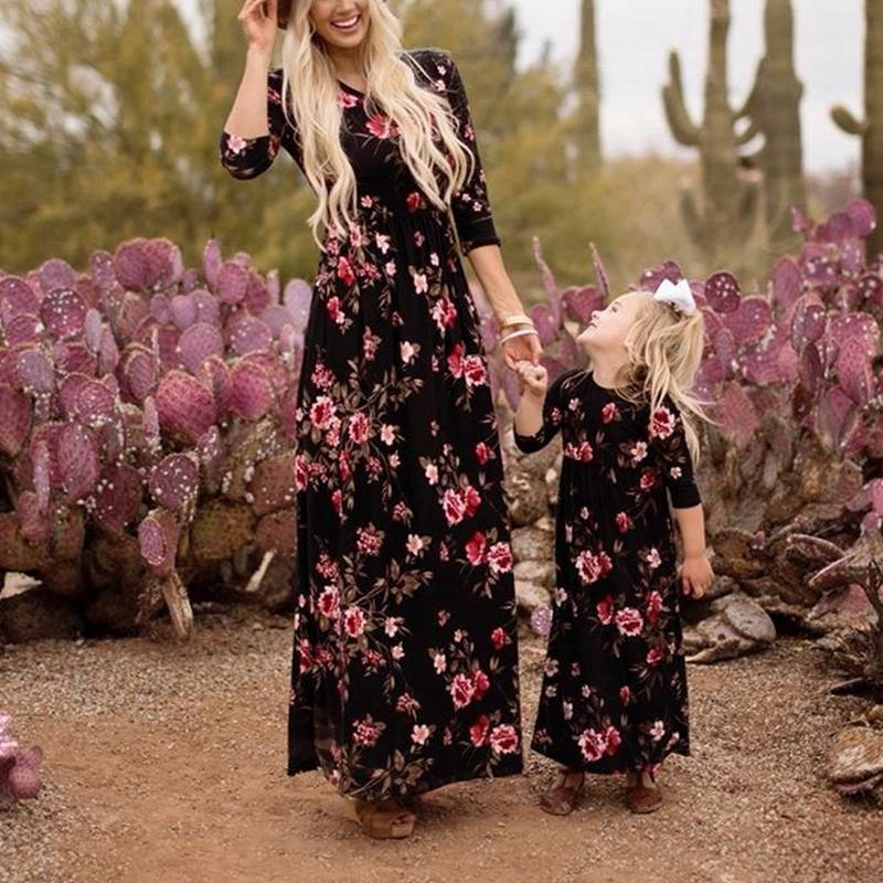 New Mother Daughter Dresses Long Sleeve Floral Dress Clothes And Family Matching