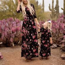 New Mother Daughter Dresses Long Sleeve Floral Long Dress Mother Daughter Clothes Mother And Daughter Dress Family Matching