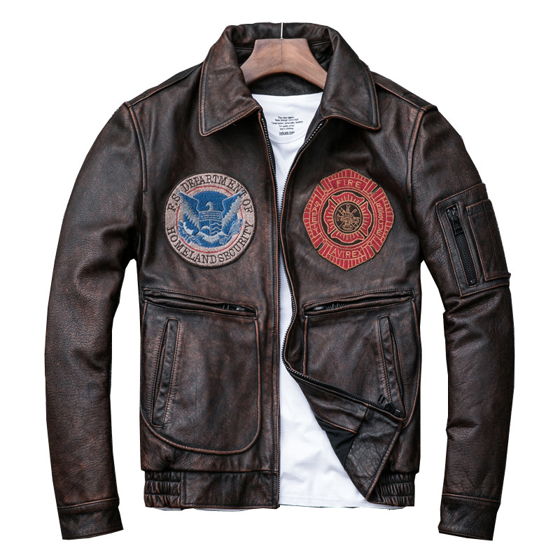 2019 Men's Vintage Genuine Leather Jackets Cowhide Motocycle Jackets Brown Air Force Pilot Leather Coat For Male