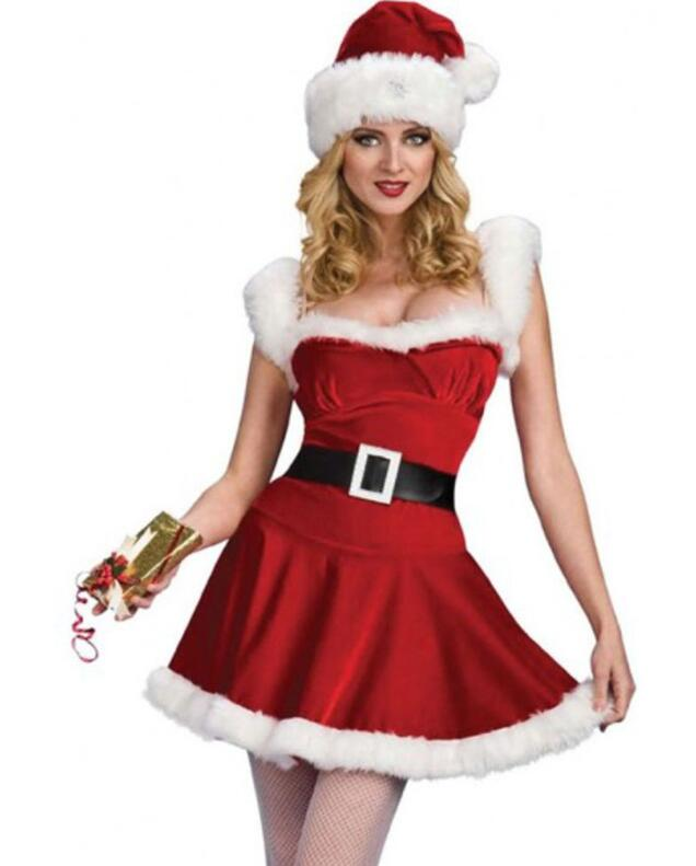 <font><b>Christmas</b></font> Adult <font><b>Sexy</b></font> Women Velvet <font><b>Costumes</b></font> Santa's Cutie <font><b>Costume</b></font> Female Mini Furry Dresses Santa <font><b>Outfit</b></font> Uniforms image