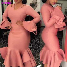 2019 spring and autumn new European and American women's bow off shoulder long sleeve ruffled bag hip sexy slim dress 2019 autumn new european and american women s personality stitching ruffled long sleeved round neck slim bag hip dress