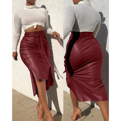 Women Sexy Bandage Pu Leather Party Skirt Fashion Solid Faux Leather Side Button Skirt Casual Bodycon Split Midi Pencil Skirts