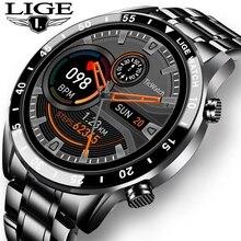 LIGE 2020 yeni lüks marka erkek saatler çelik bant spor izle kalp hızı kan basıncı aktivite izci akıllı saat erkekler için