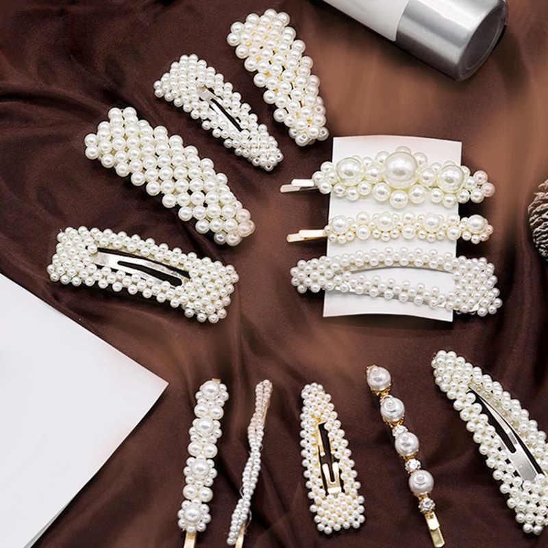 ファッションバレッタ女性真珠ヘアクリップピンウェディングジュエリーアクセサリー Mujer 韓国スタイルゴールド Hairwear ヘッドピースのために設定し