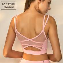 Lucylizz Mesh Breathable Yoga Bra Tops Fitness Women Shockproof Sports Bra Worko