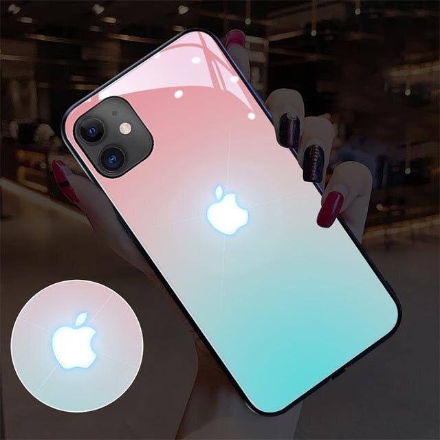 Противоударная стеклянная крышка LED6 видов изменение цвета мобильный телефон защитный чехол для iPhone 11 12 Pro Max 7 8 X XS XR мини