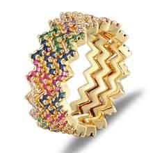 Anillo de compromiso ondulado arcoíris para boda, con incrustaciones de diamantes de imitación de colores, accesorio de joyería CZ