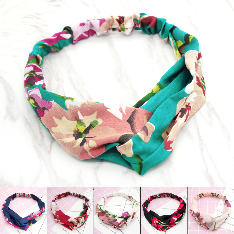 Hair Accessories Women Yoga Headbands Retro Floral Printed Ladies Classic Cross Hair Bands Turban Headwear Headwrap Trendy