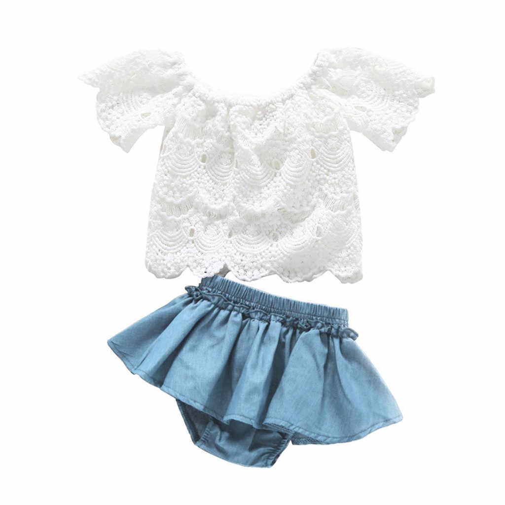 2019 caliente verano bebé niñas Niño de hombro de encaje de manga corta Tops pantalones cortos de mezclilla trajes ropa bebé niña ropa bebe