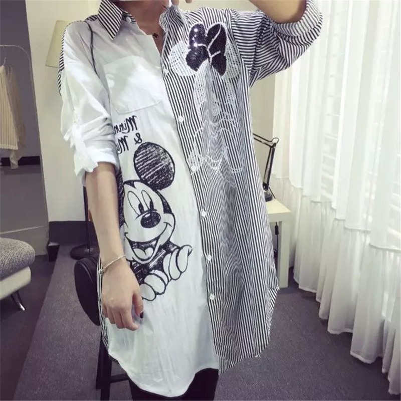 Women Mickey Shirt Fashion Striped Stirching Long Sleeve Shirts Plus Size Casual Loose Street Female Midi Shirt Rollable Sleeves
