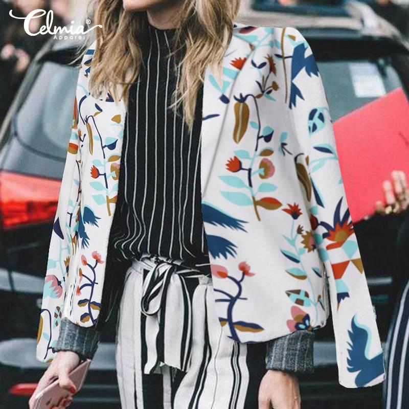 S-5XL Celmia Women Vintage Floral Print Blazers Long Sleeve Coats Fashion Office Suits Casual Outerwear Casaco Femininas OL Tops