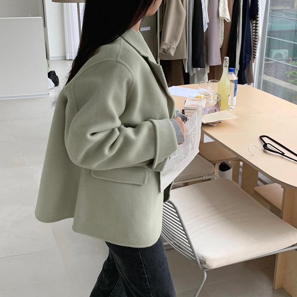H4a2d77fd148141a5b93a90f4a9d5d124c - Winter Korean Revers Collar Solid Woolen Short Coat