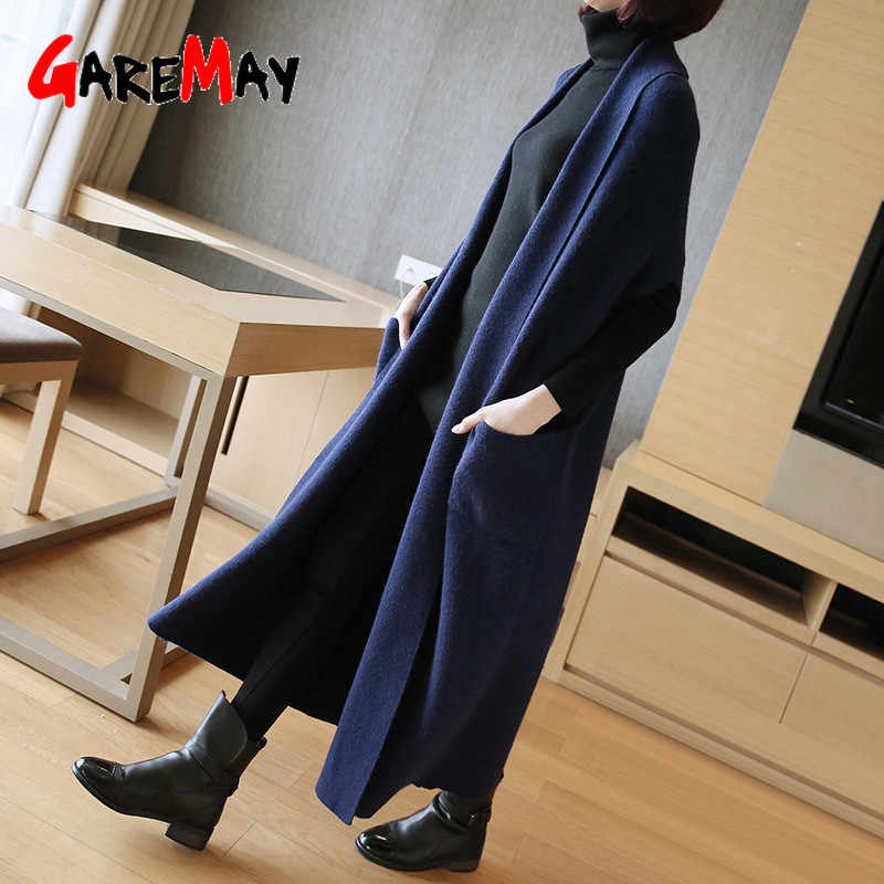 GareMay2019 Autumn sweater long cardigan women Sweater women vest Sleeve Knitted Sweater korean fashion clothing sweaters ladies