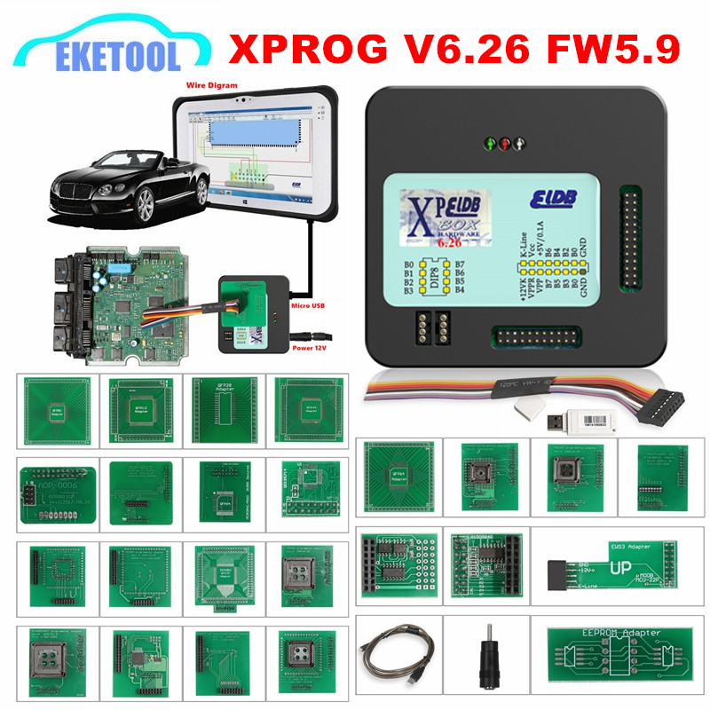 <font><b>XPROG</b></font> V6.26 V6.12 V6.17 V5.86 <font><b>V5.55</b></font> Full Adapter Auto ECU Chip Programming <font><b>Xprog</b></font> M 5.55 Metal Box AUTH-0025 Authorized X-PROG image