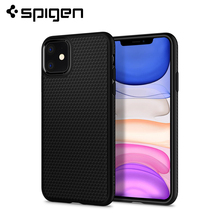 Spigen Liquid Air Series Cross Texture Flexible Soft TPU Anti-Slip Lightweight Matte Black Armor Case for iPhone 11