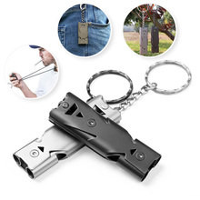 Outdoor Stainless Steel Double Pipe Emergency Survival Whistle High Decibel Portable Keychain Whistle Multifunction Tool D40 double pipe high decibel stainless steel outdoor emergency survival whistle keychain cheerleading whistle multifunction tool