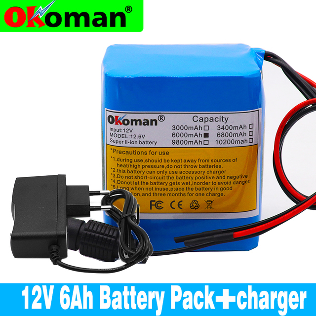 100% original battery pack12V 6000mAh 18650 Li-ion battery 6Ah DC12.6V portable battery pack with BMS + charger