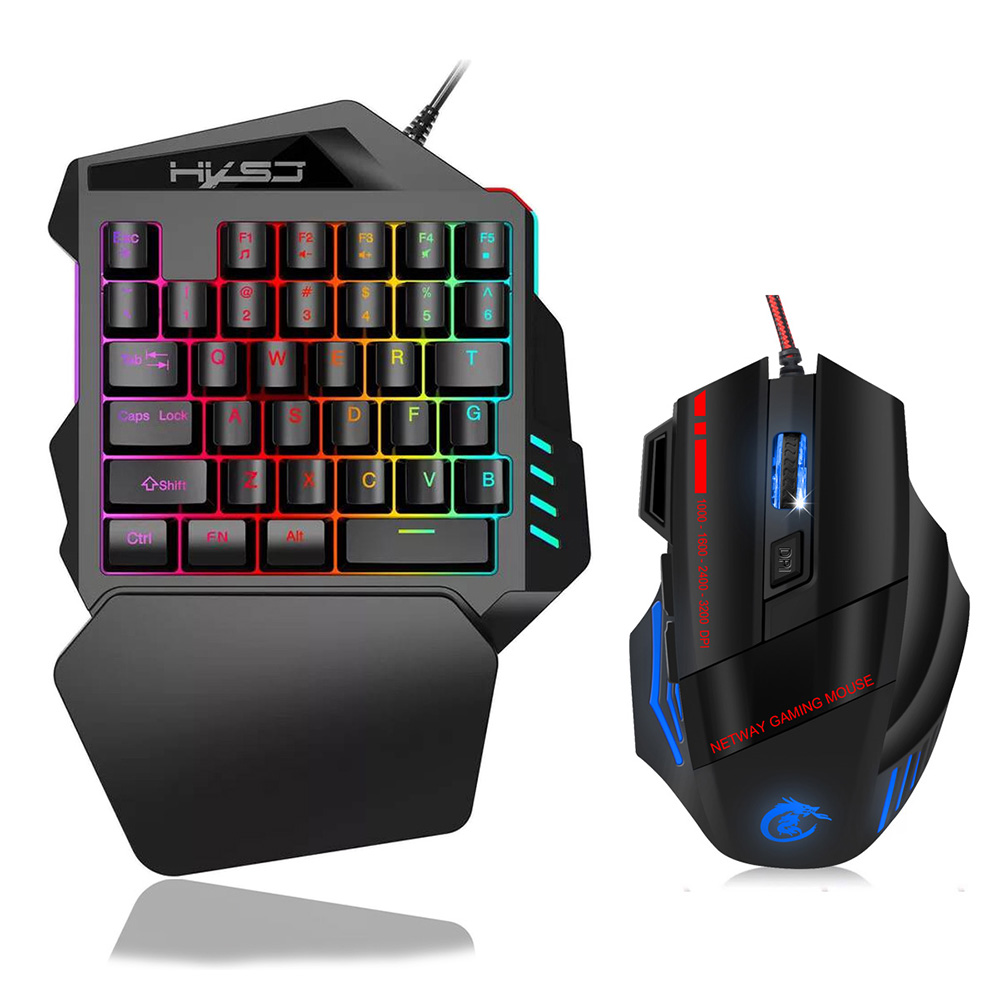 HXSJ Single hand One-Handed Mechanical Gaming Keyboard RGB Backlit Portable Mini Gaming Keypad Mouse Set for PC PS4 Xbox Gamer