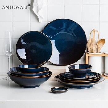 ANTOWALL 1/2/4/6 person set Blue Color Ceramic Tableware European Retro Glazed Dinnerware set