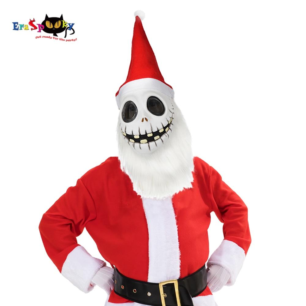 Eraspooky Classic Movie Jack Skellington Cosplay Latex Mask Skull Santa Claus Hat Nightmare Before Christmas Costume Party Prop