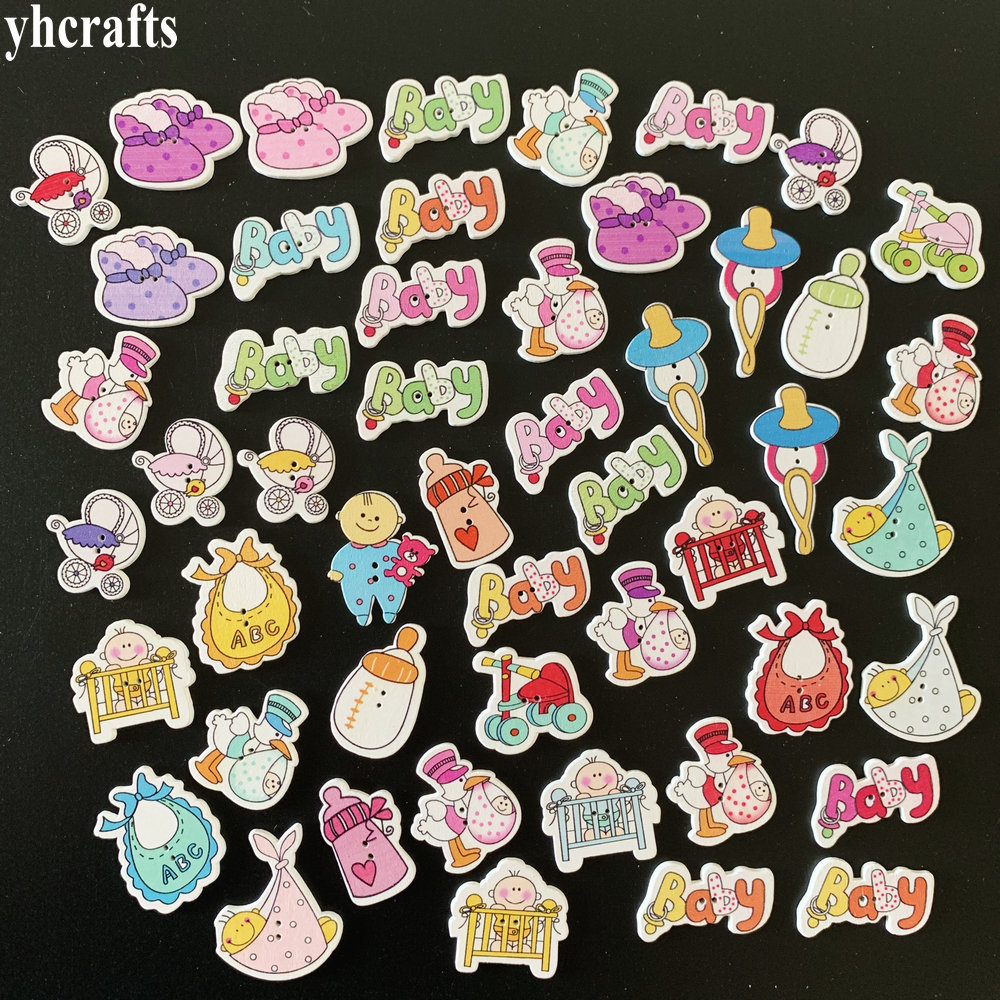 50PCS/LOT,Mix New Baby Design Wood Stickers,baby Button.Kids Room Decoration.DIY Craft Material,Scrapbooking Kit Lacing Beading