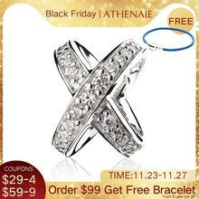 ATHENAIE 925 סטרלינג כסף עם ברור CZ Galaxy צלב טבעת חרוז קסמי לנשים קסמי צמיד fit ValentineDay ילדה מתנות