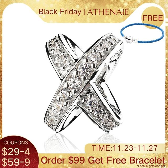 Athenaie 925 prata esterlina com clara cz galaxy cruz anel talão encantos para feminino encantos pulseira caber presentes da menina do dia dos namorados