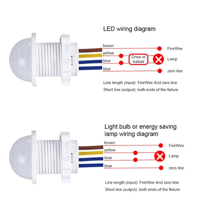 easy install home lighting energy saving time delay switch motion sensor  sensitive led detector pir lights