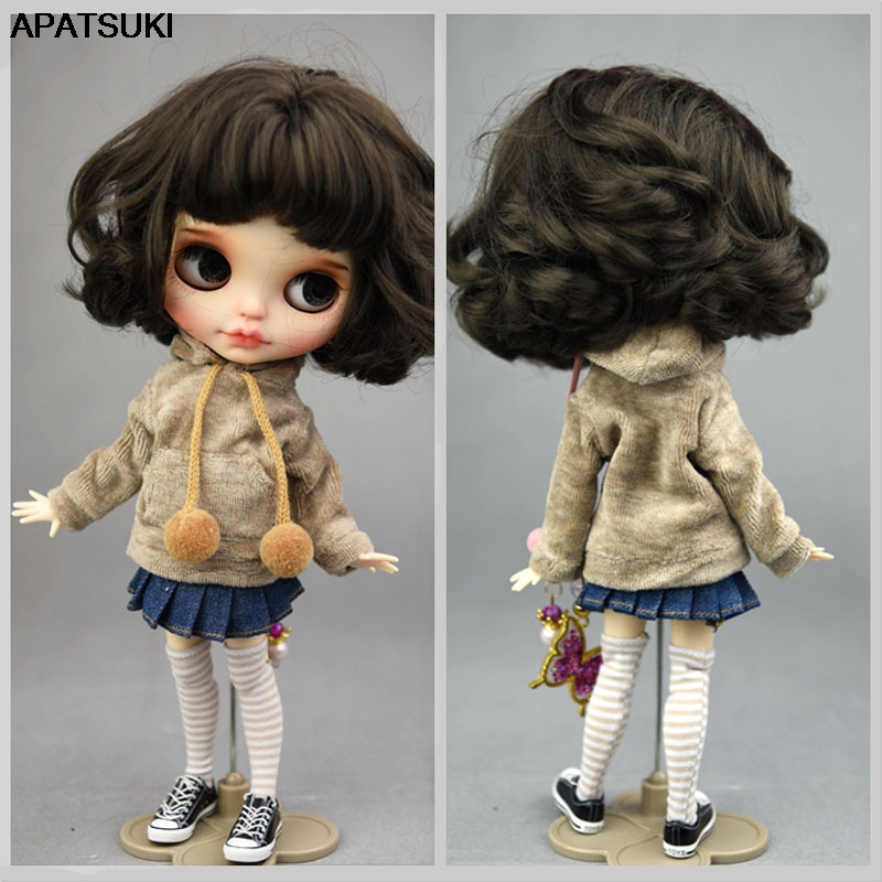 Brown Handmade Coat For Blyth Doll Sweatshirt Outfits Fashion Doll Clothes For Blythe Doll Tops Kids Toy 1/6 Doll Accessories