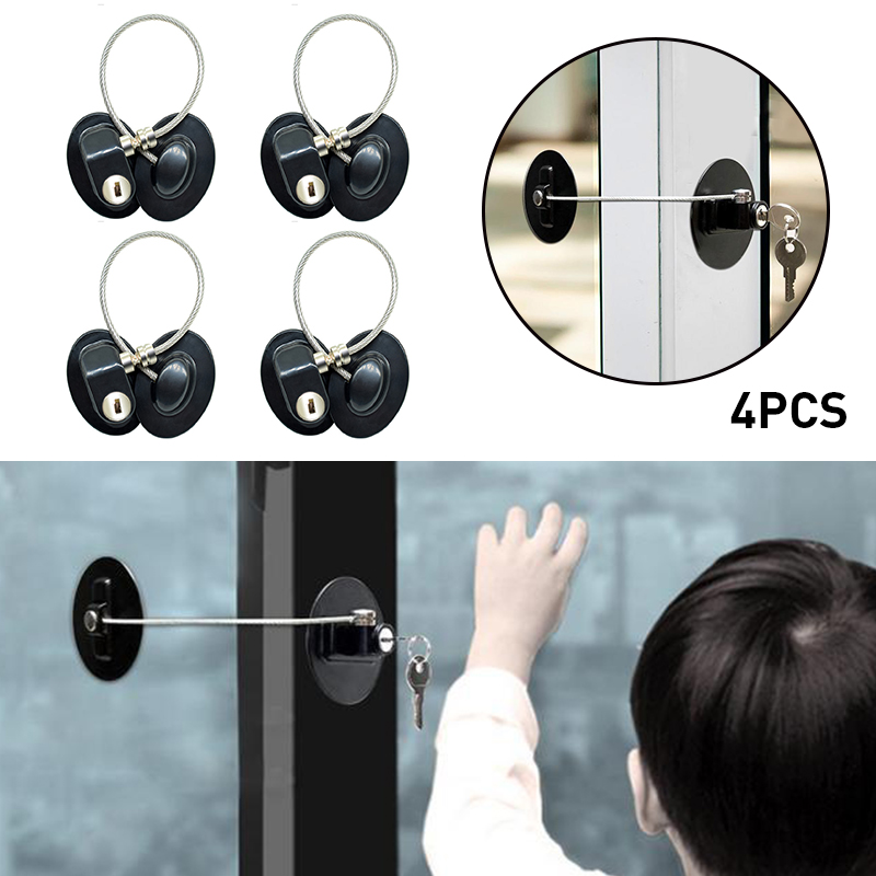 4PCS /Set Children Safety Refrigerator Door Lock With 2 Keys Infant Kids Security Window Lock Cabinet Lock Fridge Freezer Locks