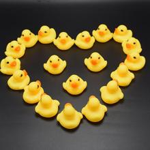 10 Pcs Cute Mini Yellow Duck Baby Bath Toys Squeeze Music Baby Ducklings Children Bathroom Toys Yellow Duck Tabletop Ornaments